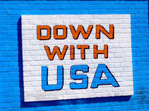 Anti american mural on on former USA embassy wall Royalty Free Stock Photography