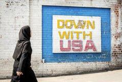 Anti Amerikaanse propagandamuurschildering op de straat Iran van Teheran royalty-vrije stock afbeeldingen