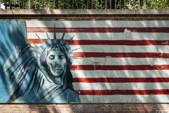 Anti Amerikaanse propagandamuurschildering op de straat Iran van Teheran royalty-vrije stock foto's