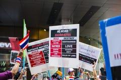 Anti--amnesti räkningprotest i Bangkok Royaltyfri Fotografi