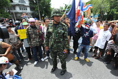 Anti-Amnesty Bill Rally in Bangkok. Activist captain Songklod Chuenchupol leads an anti-government rally near the Thai parliament on August 7, 2013 in Bangkok Royalty Free Stock Images