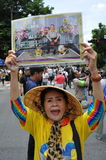 Anti-Amnesty Bill Rally in Bangkok. A protester shouts royalist slogans while attending an anti-government rally near the Thai parliament on August 7, 2013 in Royalty Free Stock Photography