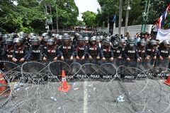 Anti-Amnesty Bill Rally in Bangkok. Riot Police stand guard near the Thai parliament after the Internal Security Act (ISA) is invoked to counter anti-government Royalty Free Stock Images
