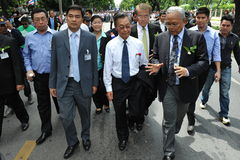 Anti-Amnesty Bill Rally in Bangkok. Senior Thai Democrat Party members, including leader and former Prime Minister Abhisit Vejjajiva (L), Chuan Leekpai (C) and Stock Photography