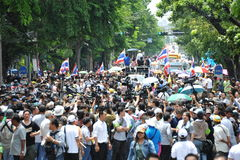 Anti-Amnesty Bill Rally in Bangkok. Senior Thai Democrat Party members, their supporters and anti-government protesters march towards a police roadblock near the Stock Photography