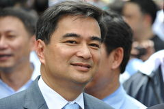 Anti-Amnesty Bill Rally in Bangkok. Thai Democrat Party leader and former Prime Minister Abhisit Vejjajiva leads an anti-government protest on August 7, 2013 in Stock Photography