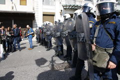 Anti-austerity protest in Athens ends with minor scale clashes Stock Image