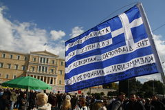 Anti-austerity protest in Athens ends with minor scale clashes Stock Photos