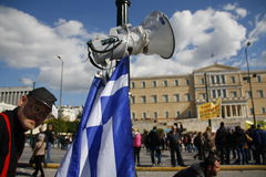 Anti-austerity protest in Athens ends with minor scale clashes Royalty Free Stock Photos