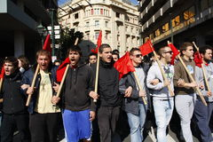 Anti-austerity protest in Athens ends with minor scale clashes Royalty Free Stock Image