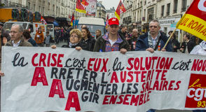 anti austerityparis protest Arkivbilder