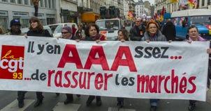 anti austerityparis protest Arkivfoton
