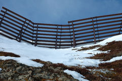 Anti avalanche structure on the side of a mountain Royalty Free Stock Photo