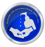Anti bacterial hand gel button Royalty Free Stock Image