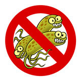 Anti bacterium sign. With a funny cartoon bacteria royalty free illustration