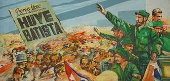 Anti--Batistaväggmålning i Museo de la Revolucion, havannacigarr, Kuba arkivbild