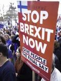 Anti-Brexit person som protesterar som rymmer ett plakat London mars 2019 arkivfoton