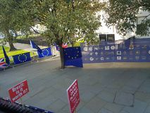 Anti-Brexit protest with anti-Brexit posters and flags. royalty free stock image