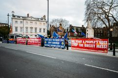 Anti-Brexit protesters outside Westminster in London, UK royalty free stock photography
