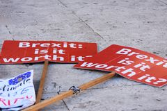 Anti Brexit Signs In Westminster London, UK Jan 2019 royalty free stock photography