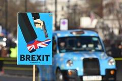 Anti-Brexit unterzeichnen herein London, Großbritannien im Januar 2019 stockfotos
