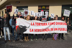 Anti Bullfighting Protesters Stock Photos