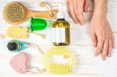 Anti-cellulite accessories. Morning routine stock photography