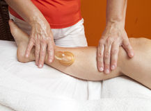 Anti cellulite massage with Ventuza vacuum body puller Royalty Free Stock Photography