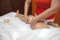 Anti cellulite massage with Ventuza vacuum body puller Stock Photo