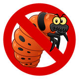 Anti Colorado potato beetle larva sign. Anti pest sign with a funny potato beetle larva. Cartoon pest series Royalty Free Stock Photos