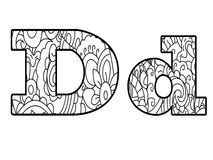 Anti coloring book alphabet, the letter D vector illustration Stock Photography