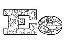 Anti coloring book alphabet, the letter E vector illustration Stock Image