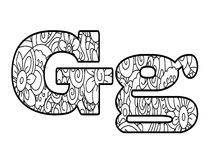 Anti coloring book alphabet, the letter G vector illustration Royalty Free Stock Photo
