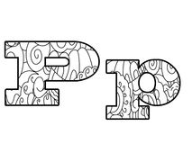Anti coloring book alphabet, the letter P vector illustration Stock Photography