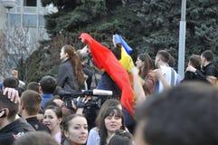 Anti-communistische demonstratiesystemenprotesten in Chisinau Stock Foto's