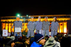 Anti corrupt politicians protest in Bucharest, Romania. Royalty Free Stock Photos