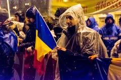 Anti-corruptieprotest in Boekarest royalty-vrije stock fotografie