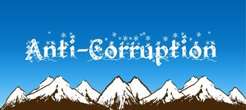 ANTI CORRUPTION écrite avec des flocons de neige sur le ciel bleu et le fond neigeux de montagnes Photo libre de droits