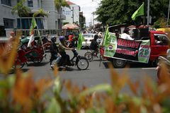 Anti-corruption demonstration in indonesia Stock Photos