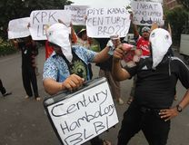 Anti-corruption demonstration in indonesia Stock Image