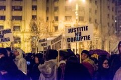 Anti-corruption protest in Bucharest. Masive Anti-corruption protest in Bucharest, Roumania. Event from 20 february 2018 Royalty Free Stock Photo