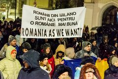 Anti-corruption protest in Bucharest. Masive Anti-corruption protest in Bucharest, Roumania. Event from 20 february 2018 Stock Image