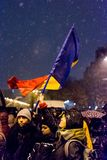 Anti-corruption protest in Bucharest. Masive Anti-corruption protest in Bucharest, Roumania. People with flag. Event from 20 february 2018 Stock Photos