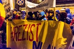 Anti-corruption protest in Bucharest. Masive Anti-corruption protest in Bucharest, Roumania. People with messages written on banners. Event from 20 february 2018 Royalty Free Stock Image