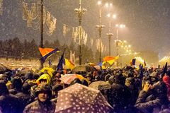 Anti-corruption protest in Bucharest. Masive Anti-corruption protest in Bucharest, Roumania. People with messages written on banners. Event from 20 february 2018 Stock Image