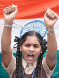 Anti corruption protest in India. School children in a Local  non-political, anti-corruption movement as apart of nation wide movement .for a Jan Lok Pal Bill Royalty Free Stock Images