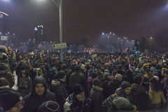 Anti corruption protests in Bucharest on January 22, 2017 Stock Images
