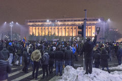 Anti corruption protests in Bucharest on January 22, 2017 Stock Photos