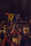 Anti corruption protests in Bucharest on January 22, 2017 Stock Image