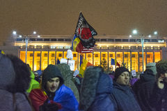 Anti corruption protests in Bucharest. Thousands of people participate in the biggest anti corruption protest since 1989 on February 11, 2017 in Bucharest Stock Photos